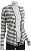 Splendid Heather Grey Stripe Cotton-cashmere Hooded Cardigan - Lyst