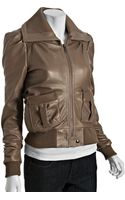 Stella & Jamie Taupe Leather Zip Front Pintuck Bomber Jacket - Lyst