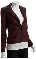 Torn Red Tweed Diane Faux Leather Detail Blazer - Lyst