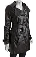 Elie Tahari Black Woven Lily Packable Trench Coat - Lyst