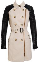 Burberry Prorsum Gabardine Trench Coat with Leather Biker Sleeves - Lyst