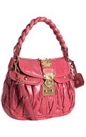 Miu Miu Pink Ruched Leather Braided Strap Shoulder Bag - Lyst