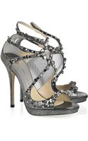 Jimmy Choo Viola Crystal-embellished Leather and Mesh Sandals - Lyst