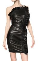 DSquared2 Ruffled Nappa Leather Dress - Lyst