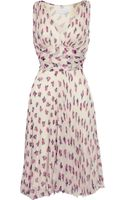 Luisa Beccaria Floral-print Plissé Silk-chiffon Dress - Lyst