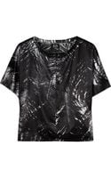 McQ by Alexander McQueen Feather-print Silk-satin Top - Lyst