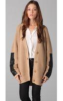 By Malene Birger Igano Leather-paneled Wool-blend Cardigan - Lyst