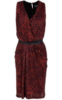 Saloni Sara Leather Waist Dress - Lyst