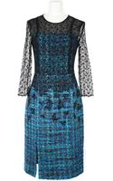 Erdem 3/4 Sleeves Fitted Dress in A Multicolored Tweed Viscose and Silk Blend - Lyst