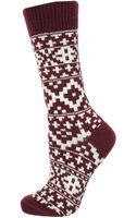 Topshop Aubergine Fairisle Ankle Socks - Lyst