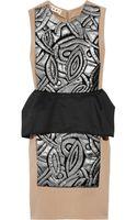 Marni Appliqué Peplum Wool-blend Dress - Lyst