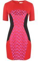 Matthew Williamson Silk Leopard Weave Panelled Mini Dress - Lyst