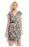 Calvin Klein Belted V-neck Dress - Lyst