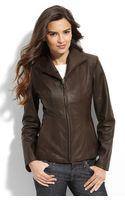 Cole Haan Lambskin Leather Scuba Jacket (petite) - Lyst