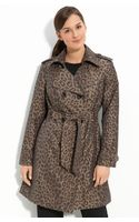 London Fog Double Breasted Print Trench (petite) - Lyst