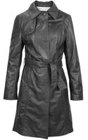 Forzieri Soft Black Leather Belted Trench Coat - Lyst