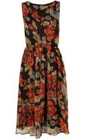 Topshop Floral Print Midi Dress - Lyst