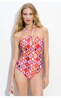 Trina Turk Ogee Cross Back One Piece Swimsuit - Lyst