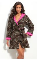 Betsey Johnson Short Hooded Microfleece Robe - Lyst