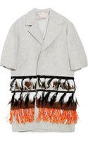 Roksanda Ilincic Feather-embellished Wool-felt Coat - Lyst