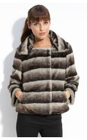 Calvin Klein Faux Chinchilla Fur Jacket - Lyst