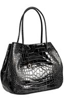 Furla Onyx Crocodile Embossed Leather Giselle Medium Shoulder Bag - Lyst