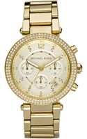 Michael Kors Ladies Round Goldtone Stainless Steel Watch with Swarovski Crystals - Lyst
