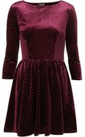 Topshop Spot Velvet Flippy Dress - Lyst