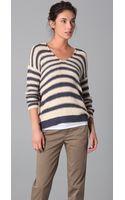 Vince Striped V-neck Sweater - Lyst