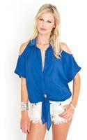 Nasty Gal Cold Shoulder Tie Blouse - Blue - Lyst