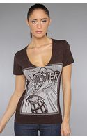 Obey The Power V Neck Tee - Lyst