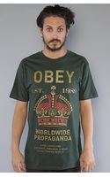 Obey The Royal Mandate Basic Tee in Heather Green - Lyst