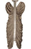 Amanda Wakeley Beadembellished Ruched Silk Dress - Lyst