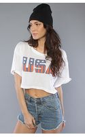 Wildfox The Stars and Stripes Crop Tee in Coconut - Lyst