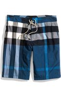 Burberry Brit Check Print Swim Trunks - Lyst