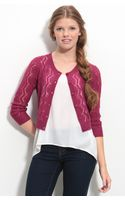 Frenchi® Cropped Zigzag Pointelle Cardigan - Lyst