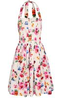 Dolce & Gabbana Floral Printed Halter-neck Dress - Lyst