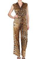 Saint Laurent Leopard Silk Satin Jumpsuit - Lyst