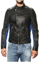 DSquared2 Studded Biker Style Leather Jacket - Lyst