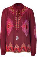 Antik Batik Burgundy Embroidered Silk Tunic Top - Lyst