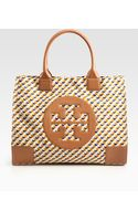 Tory Burch Jules Canvas and Leather Logo Tote Bag - Lyst