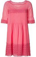 Philosophy di Alberta Ferretti Salmon Rose Dress With Cotton Lace Trim - Lyst