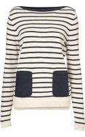 Topshop Knitted Stripe Pocket Top - Lyst