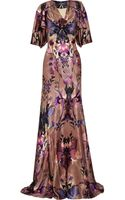 Alexander McQueen Ruffled Printed Hammered -silk Dress - Lyst