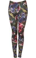 Topshop Jewel Floral Print Leggings - Lyst