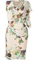 Matthew Williamson Blush Draped Silk Dress - Lyst