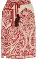 Etro Paisley-Print Silk Skirt - Lyst