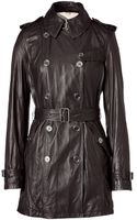Burberry Brit Black Leather Trench Coat - Lyst