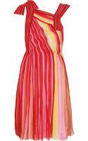 Bottega Veneta Plissé Silk-chiffon Dress - Lyst