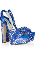 Brian Atwood Manhattan Printed Twill Slingback Sandals - Lyst